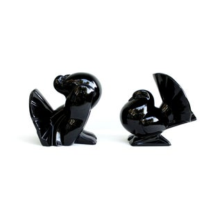 Fitz & Floyd Ceramic Bird Bookends, Black Finish