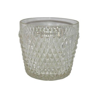 Diamond Point Glass Ice Bucket