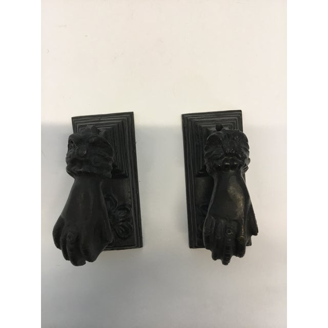 Antique French Cast Iron Door Knockers - a Pair - Image 2 of 3
