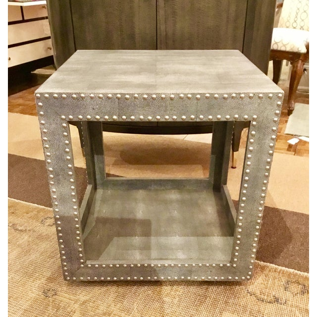 Regina Andrews Feaux Python Studded Accent Cube Table - Image 8 of 9