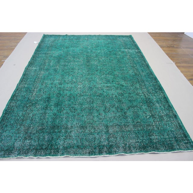 """Vintage Over-Dyed Teal Rug - 7'6"""" x 10'9"""" - Image 5 of 9"""