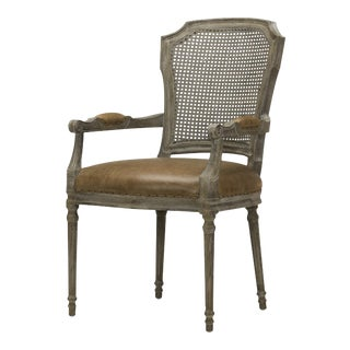 Spectra Home Carved French Leather Dining Arm Chair