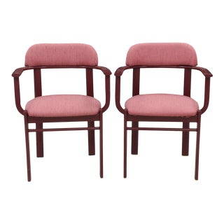 Dusty Rose and Berry Barrel Back Side Chairs - a Pair