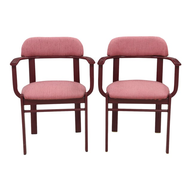 Dusty Rose and Berry Barrel Back Side Chairs - a Pair - Image 1 of 6