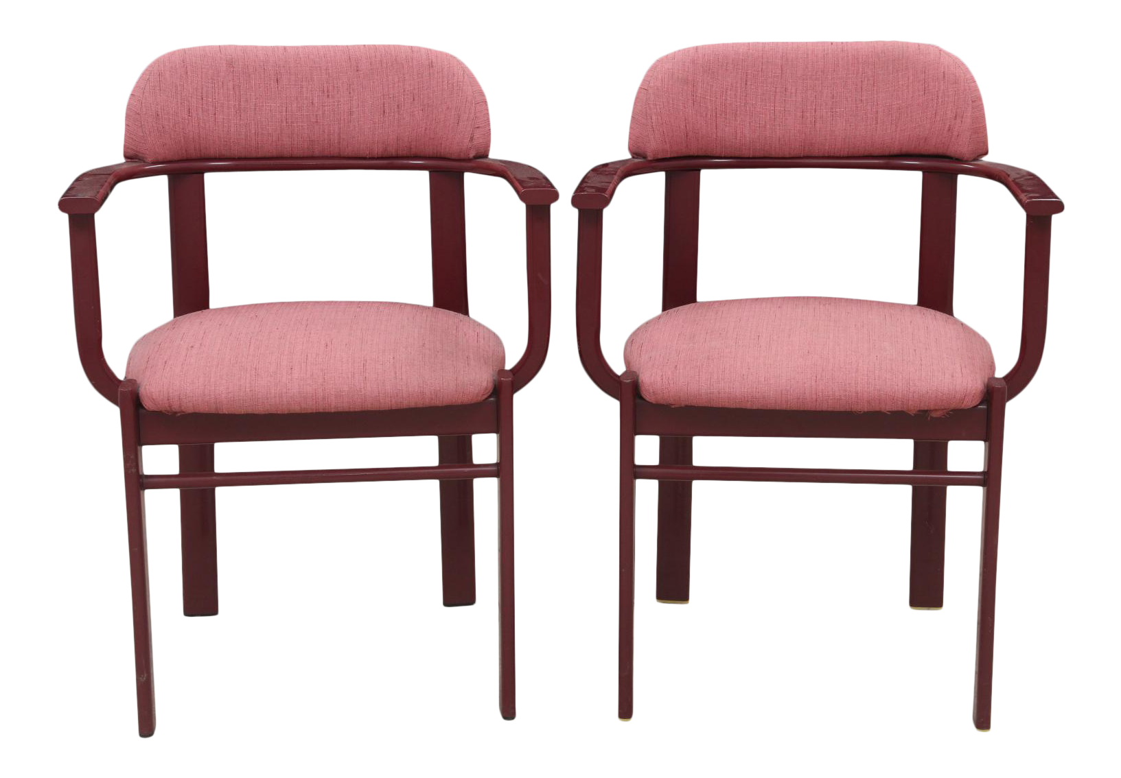 dusty rose and berry barrel back side chairs a pair