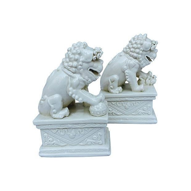 Image of Blanc De Chine Foo Dog Statues, Pair