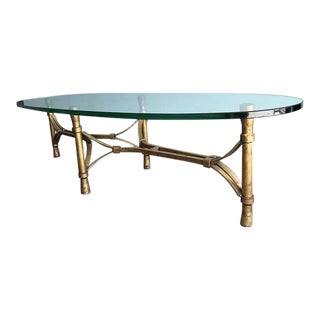 Hollywood Regency Oval Glass Top Coffee Table