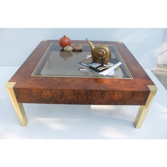 Century Furniture Burl & Brass Coffee Table - Image 3 of 10