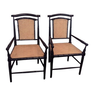 Colonial Bamboo Armchairs - A Pair