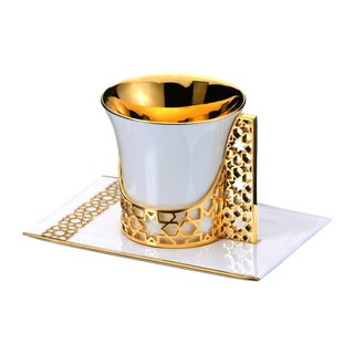 Gold Arabesque Coffee and Tea Cup with Saucer