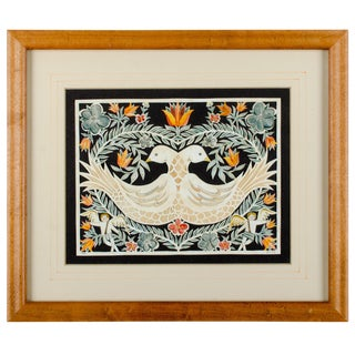 Fraktur Scherenschnitte Folk Art Birds Watercolor