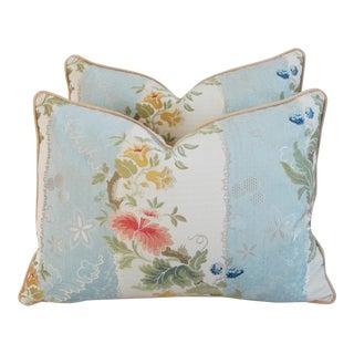 Italian Scalamandre Silk Lampas Pillows - Pair