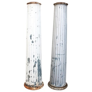 Antique Architectural Galvanized Columns - Pair