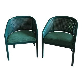 Vintage Cane Barrel Back Chairs - A Pair