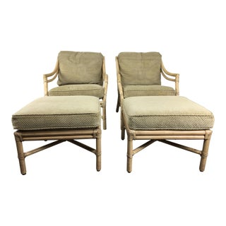McGuire Target Back Lounge Chairs With Ottomans