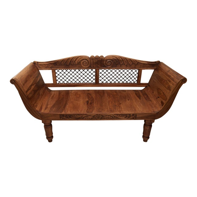 Wood Carved Loveseat Bench With Wrought Iron Chairish