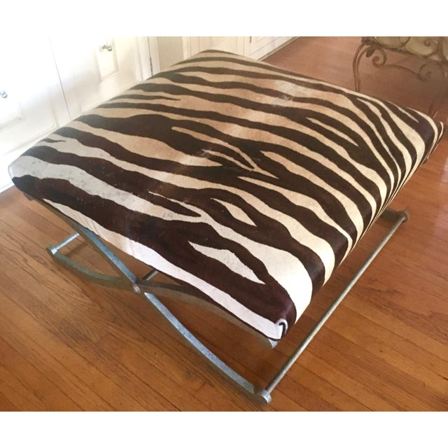 Vintage Zebra Hide Metal X Leg Base Ottoman Bench Chairish