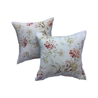French Faded Floral Pillows - Pair