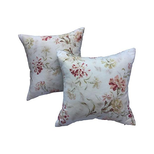 Image of French Faded Floral Pillows - Pair