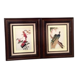 Bamboo Bird & Peacock Artwork - A Pair