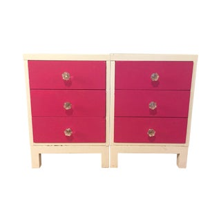 Pink & White 3-Drawer Bedside Tables - A Pair