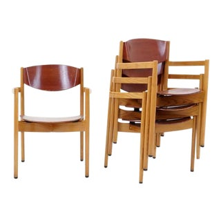 Set of Four Jens Risom Stacking Chairs, Dining Height