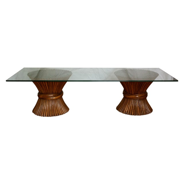 Image of Midcentury Rattan Sheaf Glass Top Coffee Table