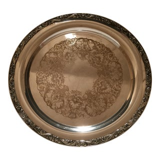 Vintage Wm. Rogers Silver Plated Round Serving Tray