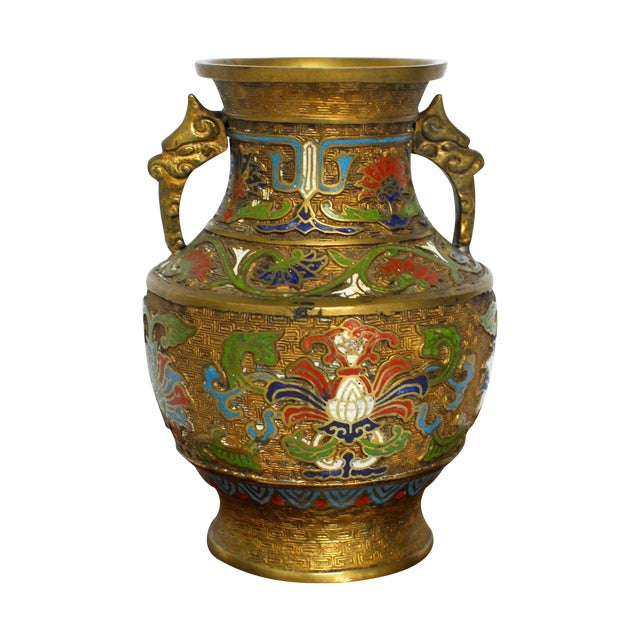 Asian Champleve Brass Floral Vase - Image 1 of 5