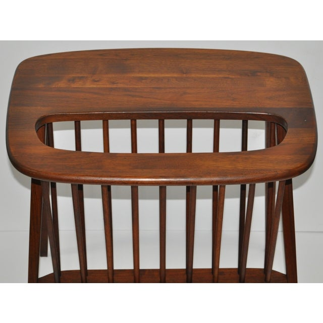Arthur Umanoff Walnut Side Table & Magazine Rack - Image 3 of 4
