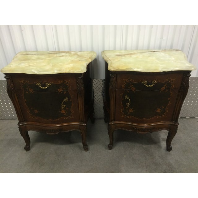 Image of Louis XV Inlaid End Tables W/ Onyx Tops - Pair