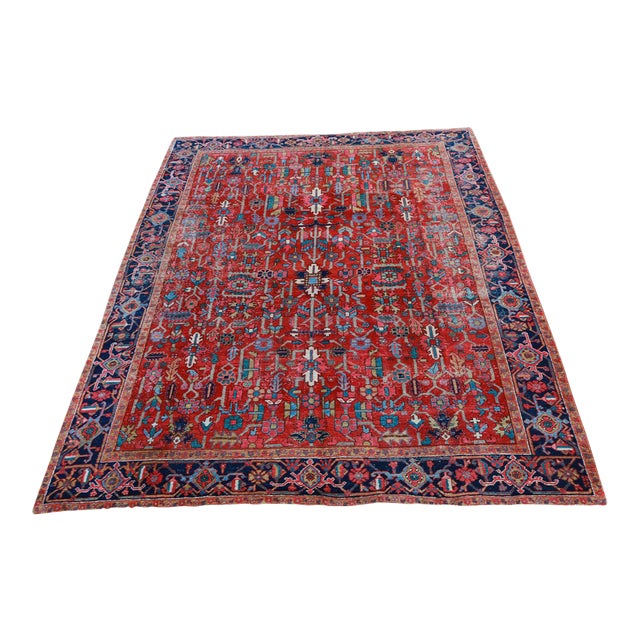 Antique Persian Heriz Rug - 9′6″ × 12′6″ - Image 1 of 6
