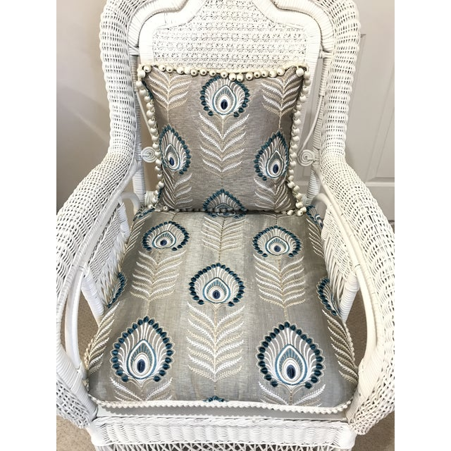 White Antique Scrolled Back Wicker & Cain Armchair - Image 2 of 7