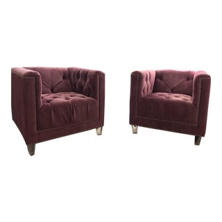 Purple Tufted Accent Chairs - A Pair