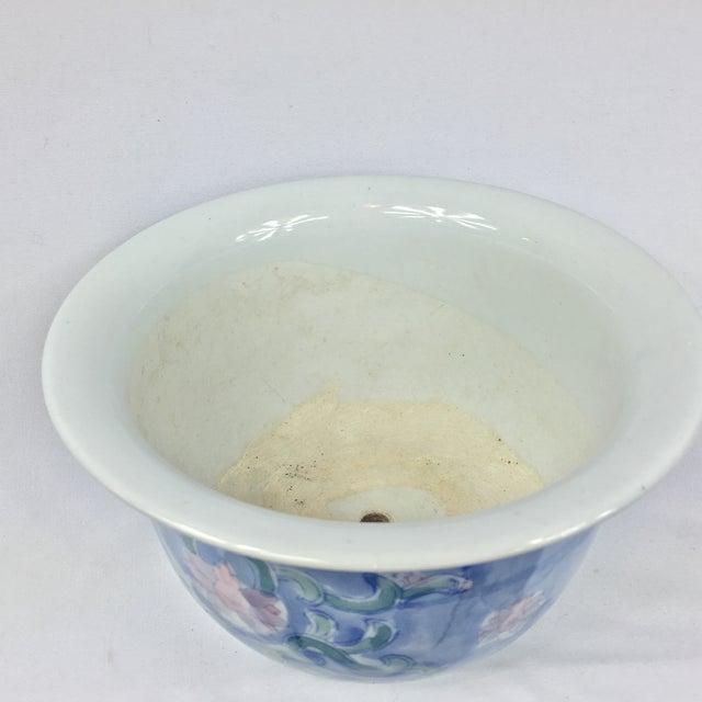 Vintage Chinoiserie Porcelain Garden Planter Pot - Image 9 of 9