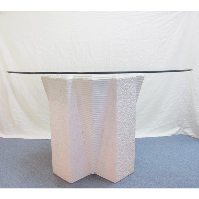 White Art Deco Dining Table with Glass Top - Image 2 of 5