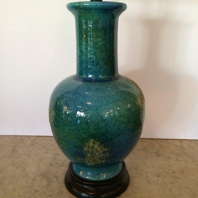 Turquoise Mid-Century Modern Vase Table Lamp - Image 4 of 5