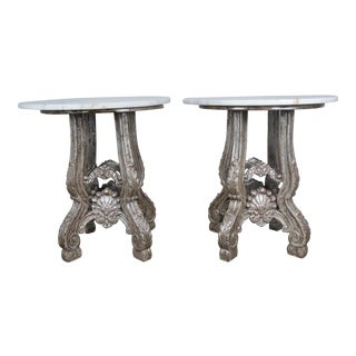 Pair of Silvered Tables w/ Carrera Marble Tops