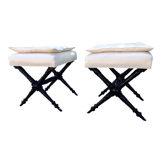 Image of Mid-Century Regency-Style Ebonized Benches - a Pair/ Seats/Stools