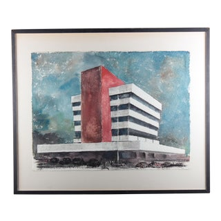 "Milton Kemnitz ""Ann Arbor City Hall"" Watercolor Painting"
