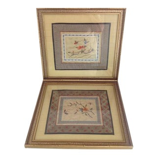 Faux Bamboo Framed Asian Embroidered Cloths - A Pair