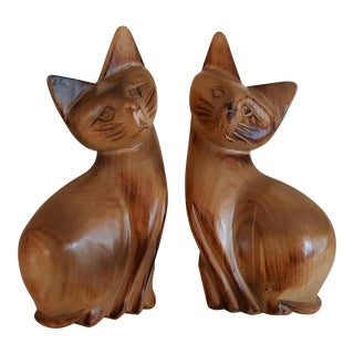 Mid-Century Carved Cats - A Pair