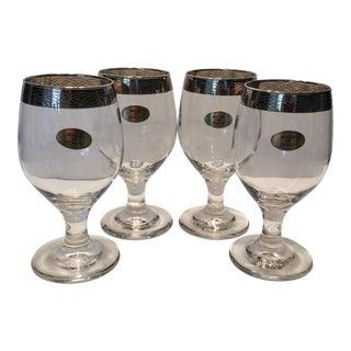 Mid-Century Italian Crystal Wine Glasses - Set of 4