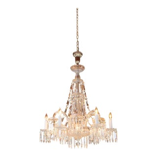 Circa 1900 Mitchell Vance Combination Gas-Electric Crystal Chandelier