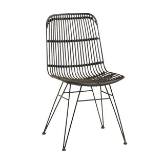 Espresso Brown Bamboo & Iron Dining Chair