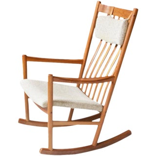 Vintage Hans Wegner for Tarm Stole Teak and Wool Rocking Chair, 1960s