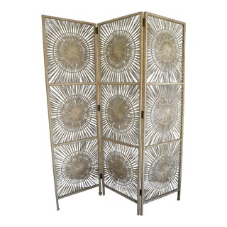 Vintage Sunburst Wicker Room Divider