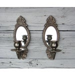 Image of Vintage Gustavian Silver Mirror Candle Sconces - 2