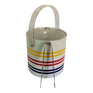 Vintage White with Yellow Blue & Red Stripe Ice Bucket With Tongs