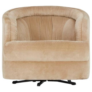 Milo Baughman Style Velvet Swivel Barrel Chair